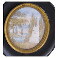 """Antique French Hair Art Memorial Mourning  """"LOUISE"""" MINIATURE PAINTING"""