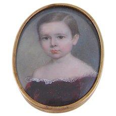 Antique American Miniature  PORTRAIT of a CHILD Att. . John Carlin in 12 Karat Gold Frame