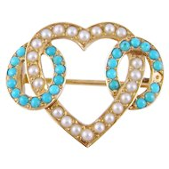 Antique Victorian 14 Karat Gold with TURQUOISE Beads and  SEED PEARLS Heart Brooch