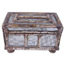 Antique 1800's Eglomise Mirror Glass Wooden CASKET BOX