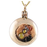 Antique Victorian 14 Karat  ROSE GOLD with INSECT  and Rose Cut Diamonds Memorial Locket Pendant