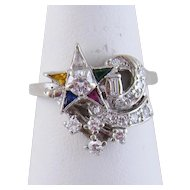 Superb Estate 14 Karat Gold  with Diamonds Sapphires Ruby and Emerald Retro  STAR COMET RING