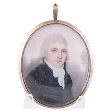 Antique 1810 English  MINIATURE PORTRAIT MAJOR BUTCHER in Red Leather Case and 14 Karat Gold Frame
