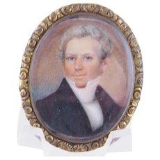 Antique English 1800's Framed  MINIATURE PORTRAIT of a Gentleman