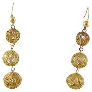 Antique 14 Karat Gold Filigree Triple Ball  DROP EARRINGS