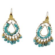 Antique 14 Karat Gold with TURQUOISE MEDALLIONS  Beautiful Earrings