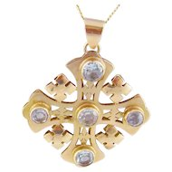Antique 14 Karat Gold with Aquamarines GOTHIC STYLE CROSS Pendant