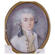 Antique 18th  C MINIATURE PORTRAIT of  Gentleman Finely Painted