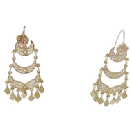 Antique 14 Karat  Gold with Medallions and Tiers Hook EARRINGS