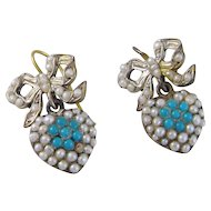 Antique Georgian 10 Karat Gold with Bow and Heart Seed Pearls and TURQUOISE EARRINGS