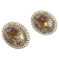 Vintage Estate 14 Karat Gold with Seed Pearls and 15 Carats SMOKY QUARTZ EARRINGS