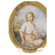 Antique French  Woman in Exotic Setting with Bird MINIATURE PORTRAIT