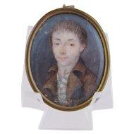 Antique 18 th C Gentleman in Brown Jacket MINIATURE PORTRAIT