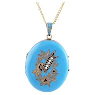 Antique 14 Karat Gold with ROBINS EGG BLUE ENAMEL  with Seed  Pearls Pendant Locket