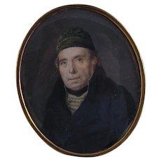 Antique 1800's Miniature Portrait of a Gentleman with 14  Karat GOLD TRIM in BOX