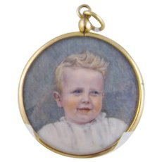 Antique 1880 Young Blonde Boy in White in 10 Karat Gold Frame MINIATURE PORTRAIT