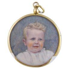 Antique 1880 Young Blonde Boy in White in 10 Karat Gold Frame MINIATURE PORTRAIT