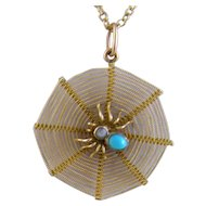 Antique Gold SPIDER WEB  with Persian Turquoise and Baroque Pearl Pendant on Chain