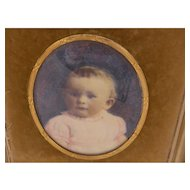 Antique Young Child  in Gold  and Travel Frame Watercolor MINIATURE PORTRAIT