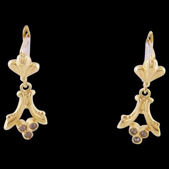 Antique 18 Karat Gold with FLEUR de LIS Design and Rose Cut Diamonds Earrings