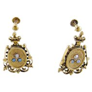 Antique 14 Karat Gold with Seed Pearls and Turquoise MEDALLION EARRINGS