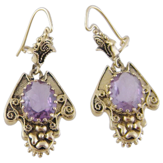 Antique 14 Karat Gold with Amethysts EARRINGS