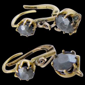 Antique Georgian 14 Karat Gold Hematite EARRINGS