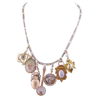 Antique Gold with 7 Charms Enamel Portrait Pansy Perfume and Seed Pearls NECKLACE