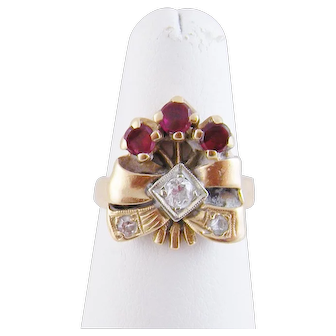 Vintage 14 Karat Pink Gold RIBBON SPRAY  with Rubies and OEC Diamonds RING