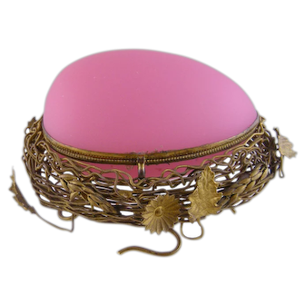Antique French Large Pink OPALINE GLASS EGG on Bronze Nest Box