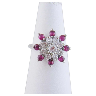 Vintage 14 Karat Gold with Round Brilliant Cut Diamonds and Rubies FLOWER HEAD RING