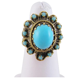 Antique 14 Karat Gold with Beautiful Large Center Blue TURQUOISE RING
