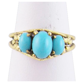 Antique 14 karat Gold PERSIAN TURQUOISE with  Beautiful Shanks Ring