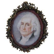 Antique Americana Signed Muiller GEORGE WASHINGTON Miniature Portrait
