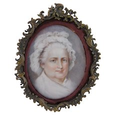 Antique Americana Signed Muiller MARTHA WASHINGTON Miniature Portrait