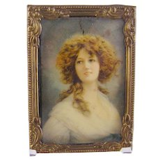 Antique 1900 Beautiful German Woman on Celluloid MINIATURE PORTRAIT