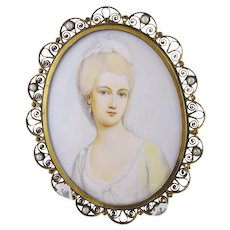 Antique French Beautiful Woman in Reticulated Frame with Pearls MINIATURE PORTRAIT