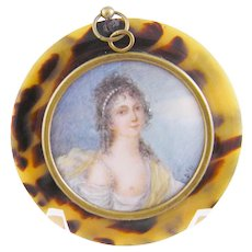 Antique French Miniature Portrait Classical Woman in a faux Tortoise Shell Frame
