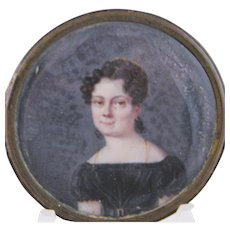 Antique Circa 1830 Woman in Black with Gold Earrings and Necklace MINIATURE PORTRAIT