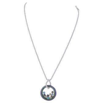 Vintage 14 Karat Gold with Diamonds Sapphires  Tsavorites Garnets PENDANT NECKLACE