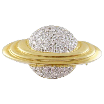 Vintage Modern 18 Karat Gold with 1/2 Carat Diamonds SATURN PLANET PENDANT