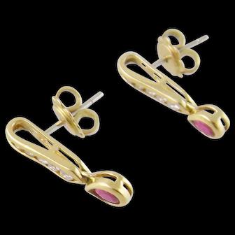 Vintage 18 Karat Gold with Pear Cut Rubies  and Full Cut DIAMONDS RUBIES