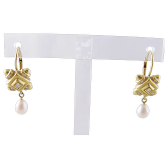 SEIDENGANG 18 Karat Gold Hallmarked with Diamonds  and Pearls EARRINGS