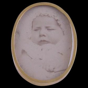 Antique Miniature 14 Kt Gold Framed Portrait of Infant PRINCE CHARLES of Belgium