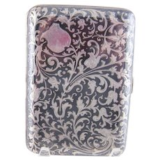Antique Austrian Sterling SILVER NIELLO Floral and Vine Hallmarked Case