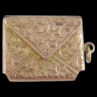 Antique Birmingham English 9 Karat Gold STAMP CASE as Envelope Pendant