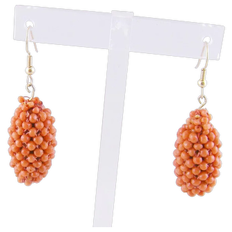 Antique 14 Karat Gold Carved CORAL Beaded Roundel Drop EARRINGS