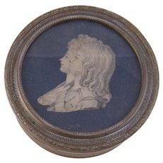 Antique French Guilloche with Silk Portrait Children of Louis XVI Gilt Box