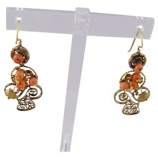 Antique Georgian 14 Kt Gold BASKETS with CORAL Beads Hook Earrings