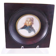 Antique French Miniature the Unfinished Portrait after David of NAPOLEON ...Signed